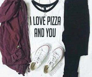 outfit, pizza, and clothes image