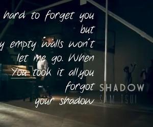 Lyrics, music, and shadow image