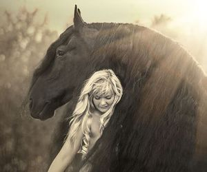 black, black horse, and girl and horse image