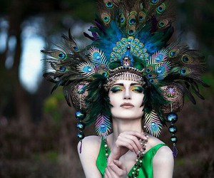 etsy, headress, and peacock colors image