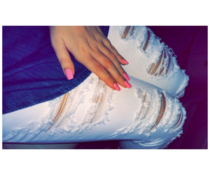 fashion, nails, and ripped jeans image