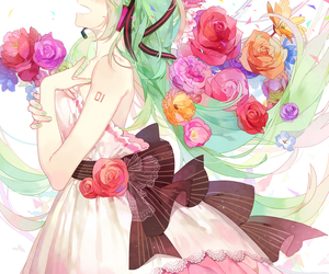 vocaloid, flowers, and hatsune miku image