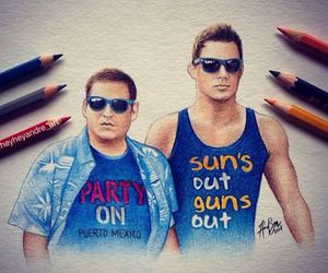 channing tatum, color pencil, and jonah hill image
