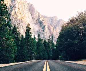 mountain, road, and wood image