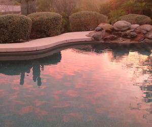 pool, summer night, and sunset image