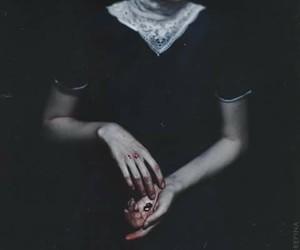 blood, girl, and dark image