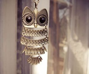 owl, necklace, and vintage image