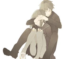 hug, sad, and anime couple image