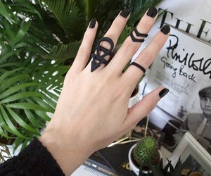 black, grunge, and nails image