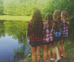 best friends, curls, and flannel image