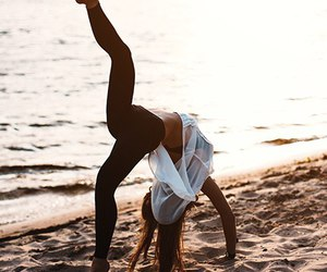 girl, yoga, and beach image