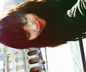 aww, black hair, and red lipstick image