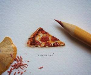 art, pizza, and drawing image