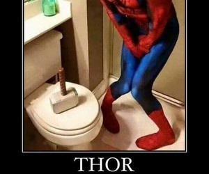 thor, spiderman, and funny image