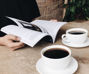 coffee, magazine, and book image