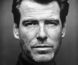 Pierce Brosnan, actor, and black and white image