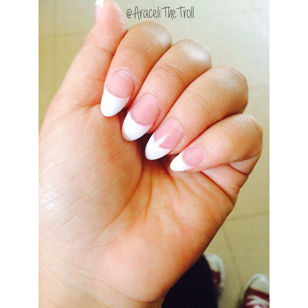 Almond tip french nails new photo