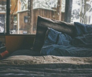 bed, cozy, and winter image