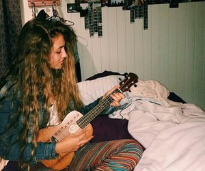 cool, girl, and guitar image
