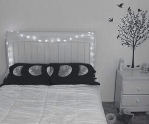 room, bedroom, and moon image