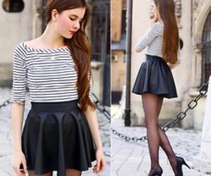 blackandwhite, skirt, and blackleather image