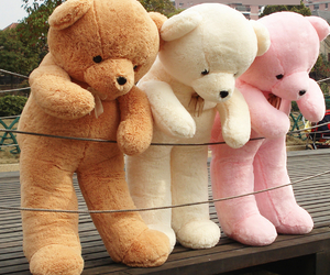 bear, pink, and teddy bear image