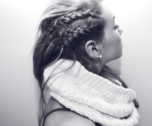 black and white, earings, and fashion image