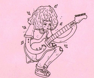 pink, aesthetic, and guitar image