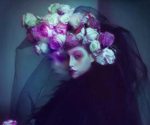 dark, flower, and lady image