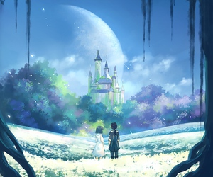 castle, couple, and morning image