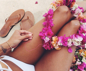 beach, flowers, and girl image