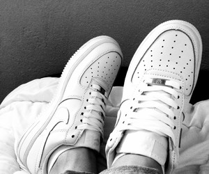 air force 1, black and white, and nike image