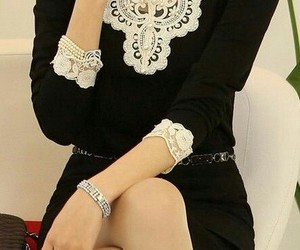 beautiful, lace, and black and white image