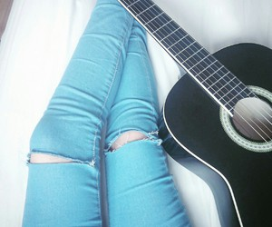 guitar, guitare, and legs image