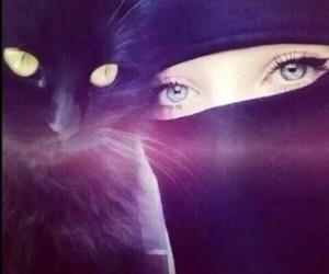 cat, eyes, and hijab image