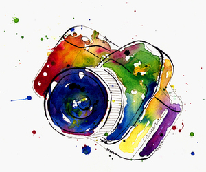 camera, color, and watercolor image