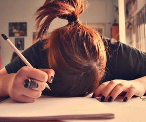 girl, homework, and study image