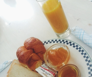 breakfast, juice, and croissant image