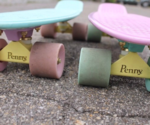 blue, tumblr girl, and penny board image