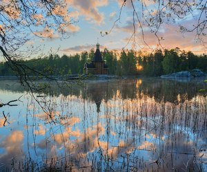 church, river, and russia image