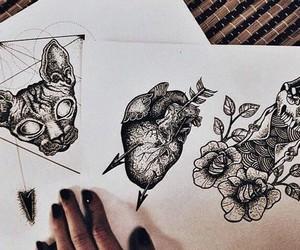 blanco y negro, gato, and corazon image