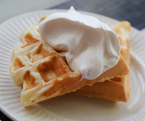 waffles and whipped cream image