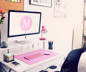 bedroom, chic, and desk image