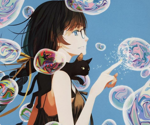 anime, bubbles, and cat image