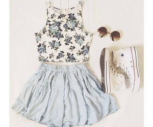 converse, outfit, and skirt image