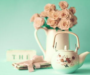 flowers, letters, and teapot image