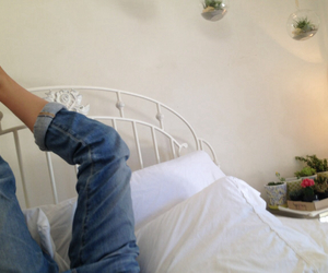 jeans, bed, and legs image