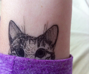 cat tattoo, chat, and fille image