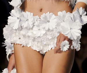fashion, model, and flowers image