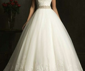 dress, wedding dress, and white image